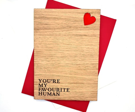 Anniversary personalised wooden card, favourite human! Free personalised message on the reverse