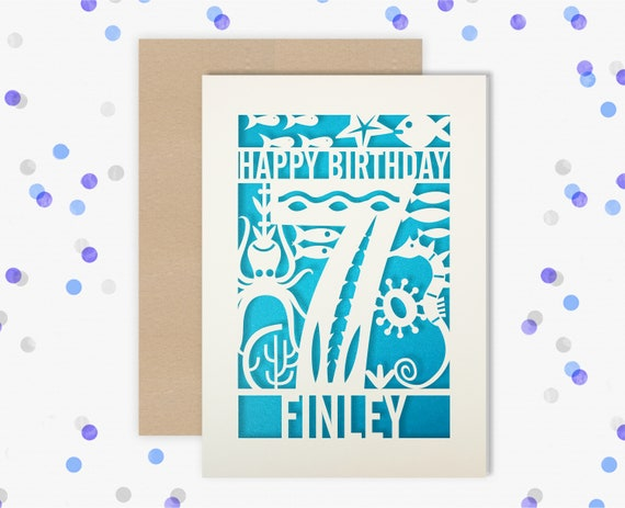 Personalised 7th Papercut Birthday Card Fish design with the name your choice. Grandson, nephew, son, Brother 7