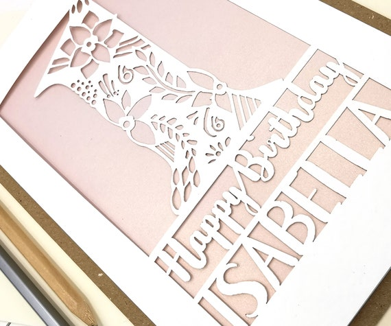 Personalised Papercut 1st Birthday Card Floral design with the name and age of your choice. Single digit portrait style design