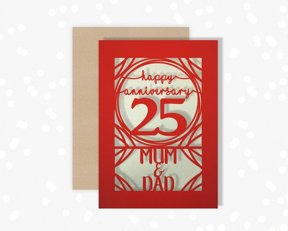 Papercut Personalised card 25 Year wedding anniversary Celebrate a Silver 25th wedding anniversary with this beautiful Card for couples