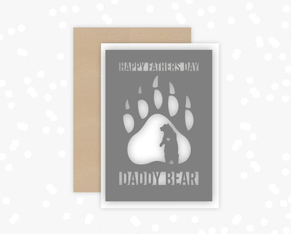 Fathers Day Card, Paper cut Card for Dad, Papercut, Papa Bear, Daddy Bear, Card for him