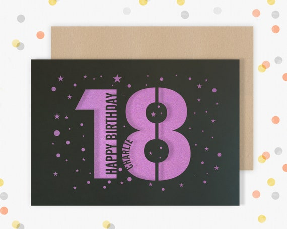 Personalised 18th Papercut Birthday Card Star design with the name of your choice. Or add any Age, 18, 21, 30, 40, 50, 60, 70, 75, 80