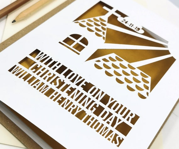 Personalised Christening or Baptism Card from Godparents with a  Papercut Church design. Add the name, date and location