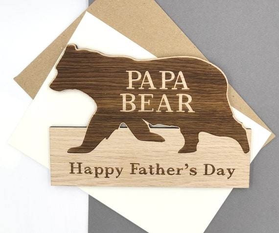 Papa Bear Personalised Father's Day Card wooden card For Daddy, Dad, Pops, Papa!