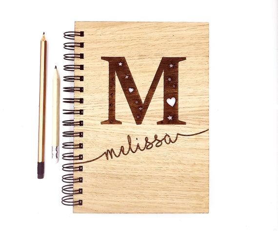 Personalised wooden journal notebook,  A5 Notebook Oak Cover. Custom cover with blank pages be more Mindful