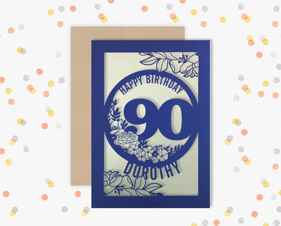 Personalised 90th Birthday Card Papercut Floral design Card for her 90