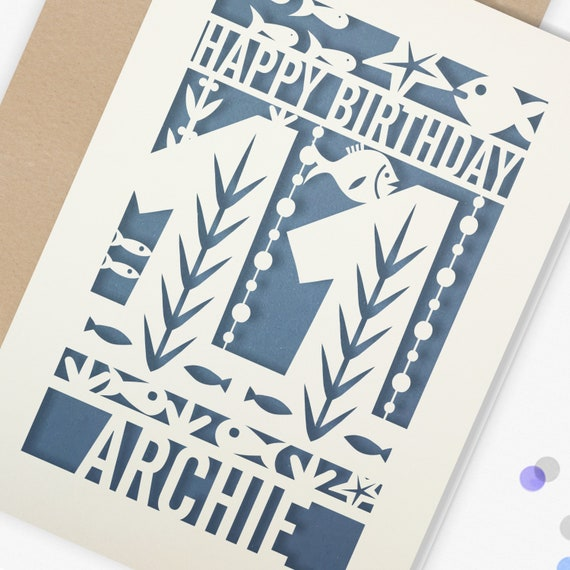 Personalised 11th Papercut Birthday Card Fish design with the name your choice. Grandson, nephew, son, Brother 11