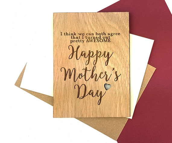 Personalised Funny Mother's Day card - Wooden Oak card engraved with a little cut out heart. Pretty AWESOME Happy Mother's Day