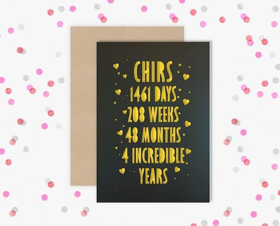 Personalised 4 Year Wedding Anniversary Card.  4th Wedding anniversary paper cut card Flowers Anniversary