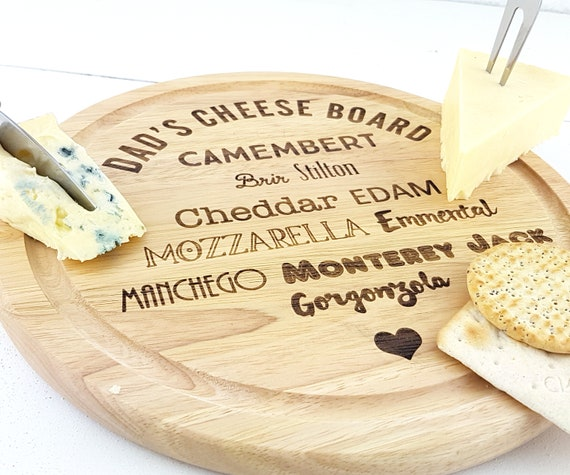 Personalised Cheese Board, cutomised with the name of your choice. Pick from a simple round board or a cheese board with tray & Knives