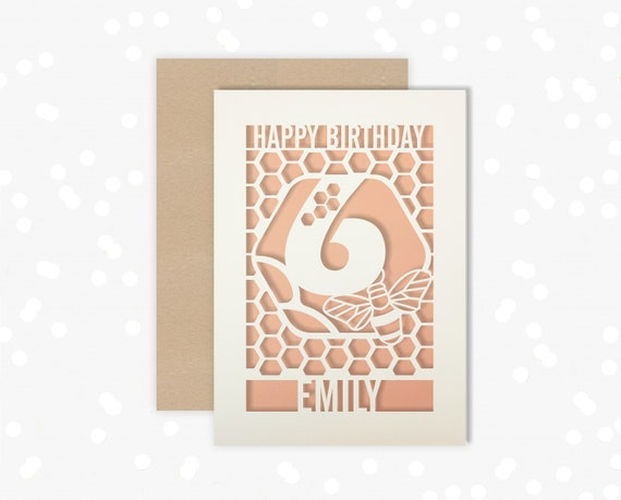 Personalised 6th Birthday Paper cut card, bumble bee & honeycomb design, 6 Birthday card
