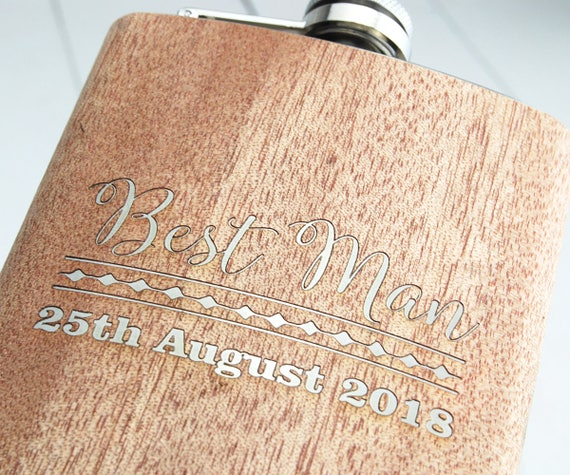 Personalised Groomsman, Best Man Gift Hip Flask ~Beautiful walnut wood veneer on a High Quality Stainless Steel Case
