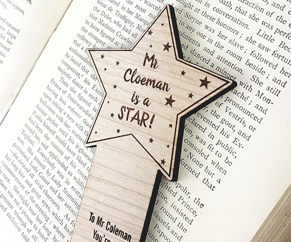 Star Teachers Gift Bookmark - Personalised with the name of your choice, flower tag, wooden bookmark, oak, cherry