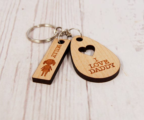 Custom I love Daddy Key chain or We love Daddy Personalised Key ring for Father's Day or a great stocking filler!
