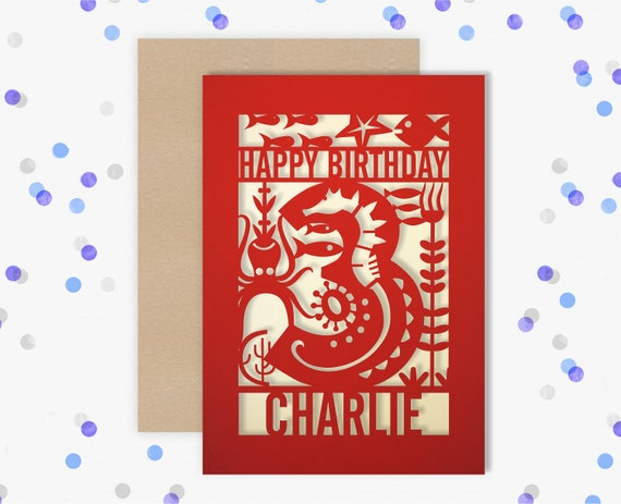 Personalised 3rd Papercut Birthday Card Fish design with the name your choice. Grandson, nephew, son, Brother 3
