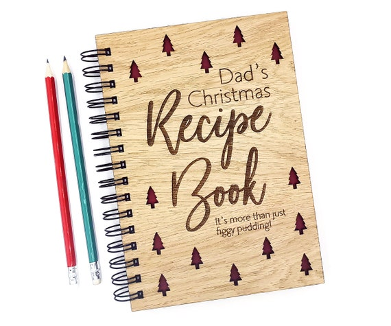 Personalised Christmas Recipe Book, a beautiful keepsake of Family Recipes A5 Notebook Oak Cover. Custom cover with blank pages