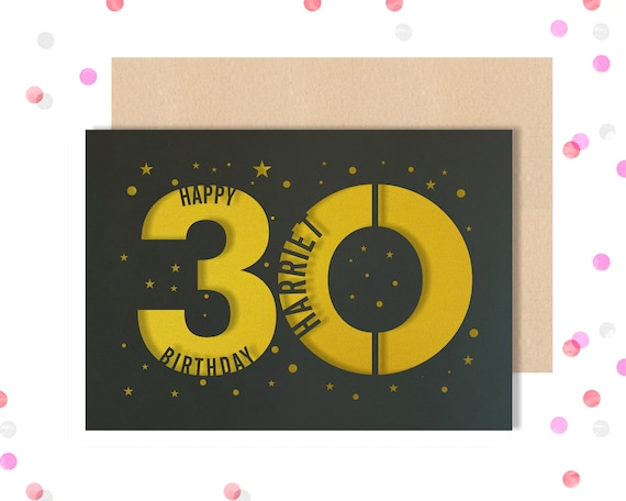 Personalised 30th Papercut Birthday Card Star design with the name your choice. Request any Age, for 18, 21, 30, 40, 50, 60, 70, 75, 80