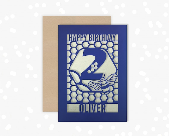 Personalised 2nd Birthday Paper cut card, bumble bee & honeycomb design, 2 Birthday card