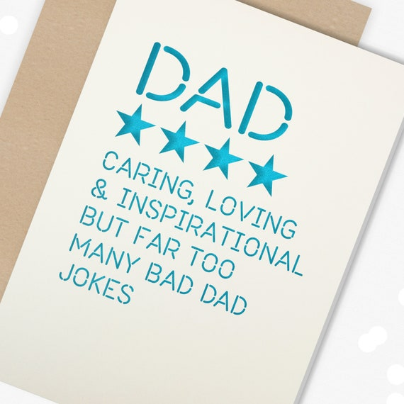 Paper cut Fathers Day or Birthday Card, Star Rating Card, 4 Star Dad too many Bad Dad Jokes