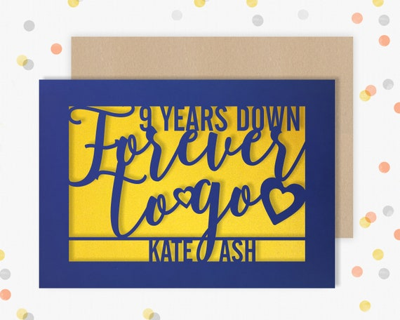 Personalised 9 Year Wedding Anniversary Card.  9th Wedding anniversary paper cut card Pottery Anniversary 9 Years Down Forever to go
