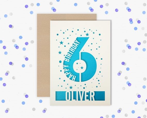 Personalised 6th Birthday Card Papercut contemporary star design Second Birthday, 6 Birthday, card for him