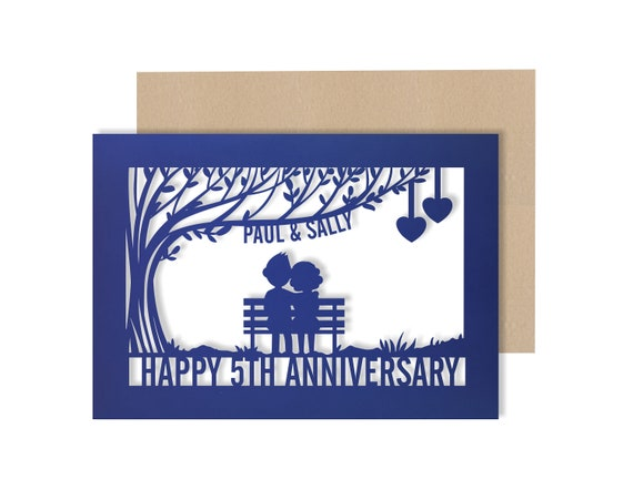 Personalised 5 Year Wedding Anniversary Card.  5th Wedding anniversary paper cut card wood Anniversary Card for Couple
