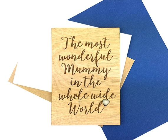 Personalised Mom Birthday Card or Mother's Day card Personalised message on the reverse of this wooden Oak card