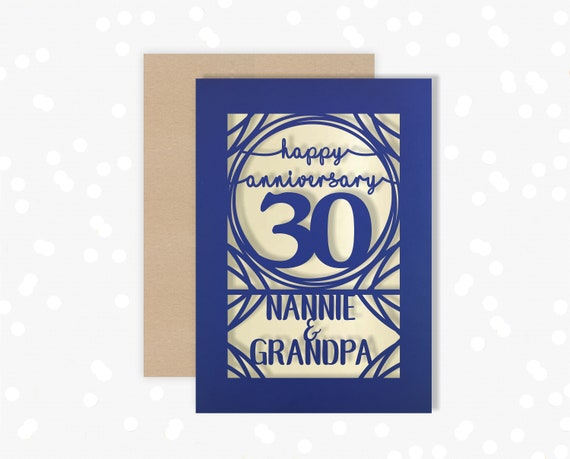 Papercut Personalised card 30 Year wedding anniversary Celebrate a Pearl 30th wedding anniversary with this beautiful Card for couples