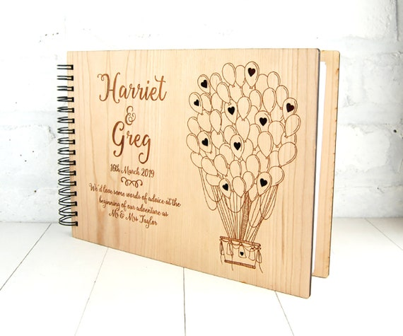 Personalised Wooden Wedding Guest Book or anniversary gift,  Custom Scrap Book, Unique Wedding Guest Book, Photo Album, Cherry or  Oak