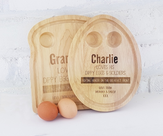 Personalised Breakfast board, toast or egg shaped serving tray customised with the name of your choice. Great gift for breakfast lovers