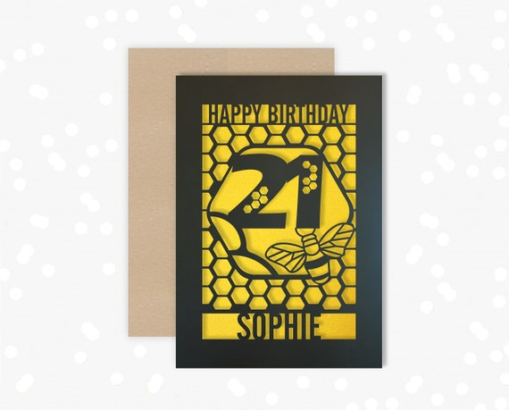 Personalised 21st Birthday Paper cut card, bumble bee & honeycomb design, 21 Birthday card