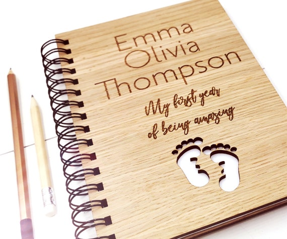 Personalised Baby's first year book, My first year, A5 Notebook Oak Cover. Custom cover with blank pages