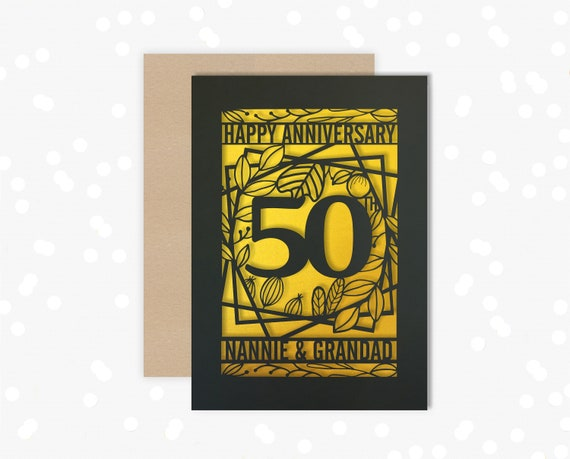 Personalised card 50 Year wedding anniversary Papercut Celebrate a Rubyl 40th wedding anniversary with this beautiful Card for couples