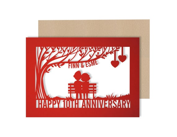 Personalised 10 Year Wedding Anniversary Card.  10th Wedding anniversary paper cut card Tin Anniversary Card for couples