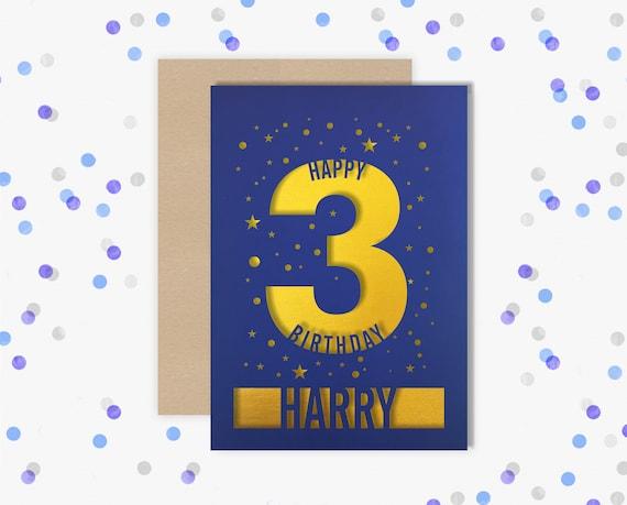 Personalised 3rd Birthday Card Papercut contemporary star design Second Birthday, 3 Birthday, card for him