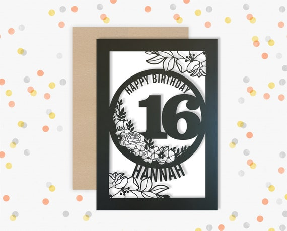 Personalised 16 th Papercut Birthday Card Floral design with the name and age of your choice Any Age, for 18, 21, 30, 40, 50, 60, 70, 75, 80
