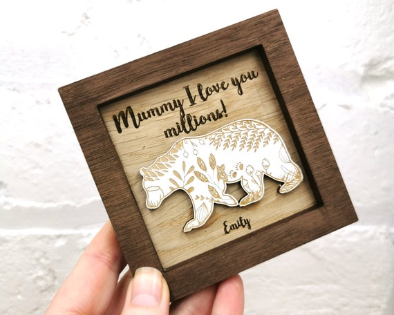 Personalised Bear wall art, Mothers Day Gift, Fathers Day Gift, Gift for Mum, Flower, mini frame, Grandparent, Mum I love you millions