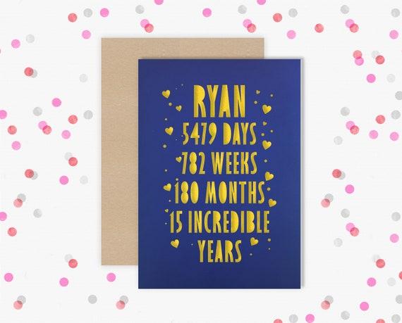 Personalised 15 Year Wedding Anniversary Card.  15th Wedding anniversary paper cut card Crystal Anniversary