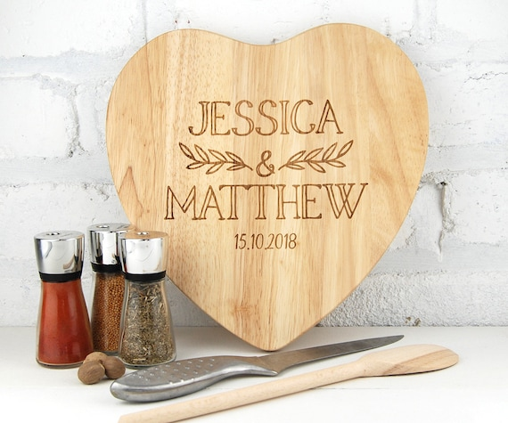 Personalised cutting chopping board Heart Custom Cutting board  Weddings Engagment Anniversary House warming Couples gift heart or round