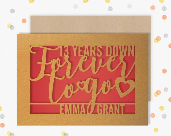 Personalised 13 Year Wedding Anniversary Card.  13th Wedding anniversary paper cut card Lace Anniversary 13 Years Down Forever to go