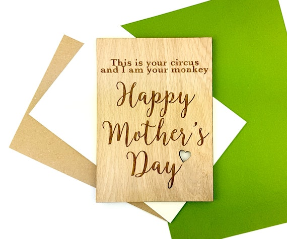 Funny Personalised Mother's Day card - Paper alternative Oak card engraved with a little cut out heart