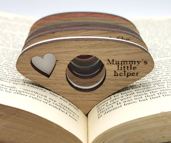 Personalised Thumb book page holder great for book lovers Made from Oak and funky acrylic Reading ring