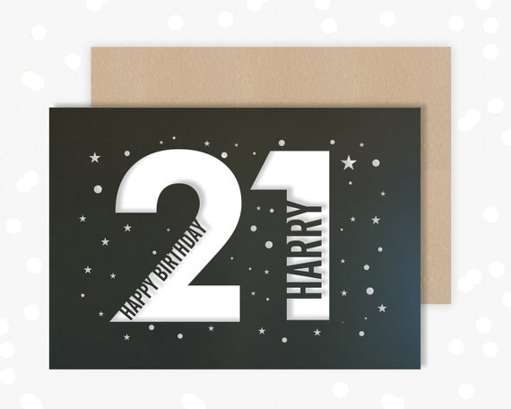 21 st Papercut Personalised Birthday Card Star design with the name your choice. Request any Age, for 18, 21, 30, 40, 50, 65, 70, 75, 80