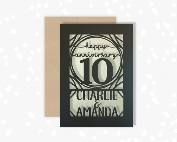 Personalised Papercut card 10 Year wedding anniversary Celebrate a Tin 10th wedding anniversary with this beautiful Card for couples