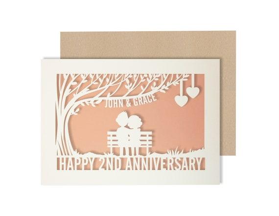Personalised 2 Year Wedding Anniversary Card.  2nd Wedding anniversary paper cut card Couple Card for Anniversary