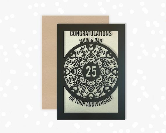 Personalised Anniversary Card Paper Cut Greeting Card, 25th Wedding Anniversary Laser Cut
