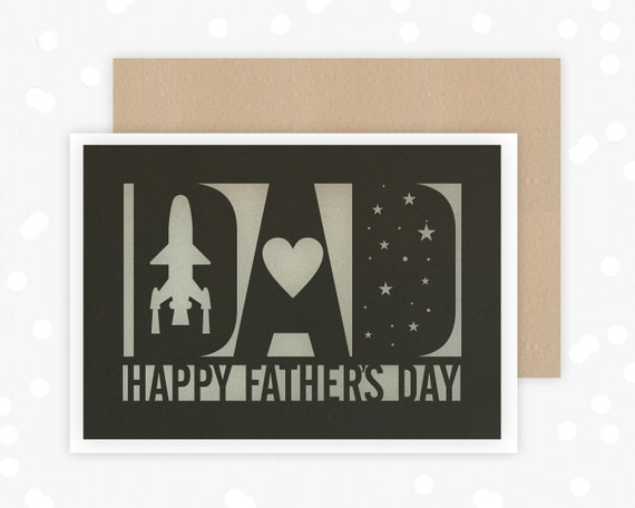 Fathers Day Card, Space themed, Papercut Card, Card for him, stars, out of this world, rocket ship, from the kids