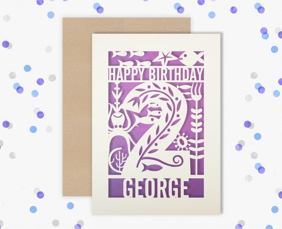 Personalised 2nd Papercut Birthday Card Fish design with the name your choice. Grandson, nephew, son 2