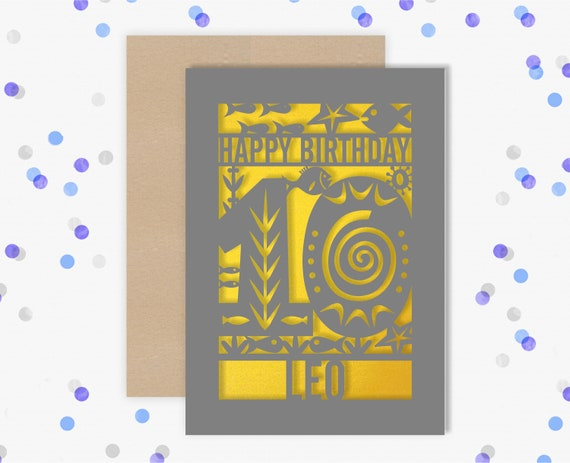Personalised 10th Papercut Birthday Card Fish design with the name your choice. Grandson, nephew, son, Brother 10