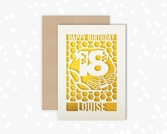 Personalised 18th Birthday Paper cut card, bumble bee & honeycomb design, 18 Birthday card